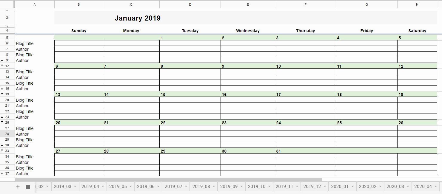 Google Sheets Calendar Template 2019 Beautiful Free 2019 Editorial Calendar In Google Sheets