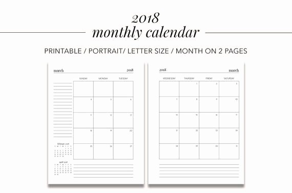 Google Sheets Calendar Template 2019 Best Of 2018 Monthly Calendar Month On 2 Pages Planner Pages