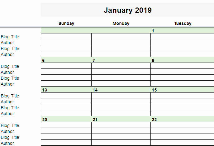 Google Sheets Calendar Template 2019 Best Of Free 2019 Editorial Calendar In Google Sheets
