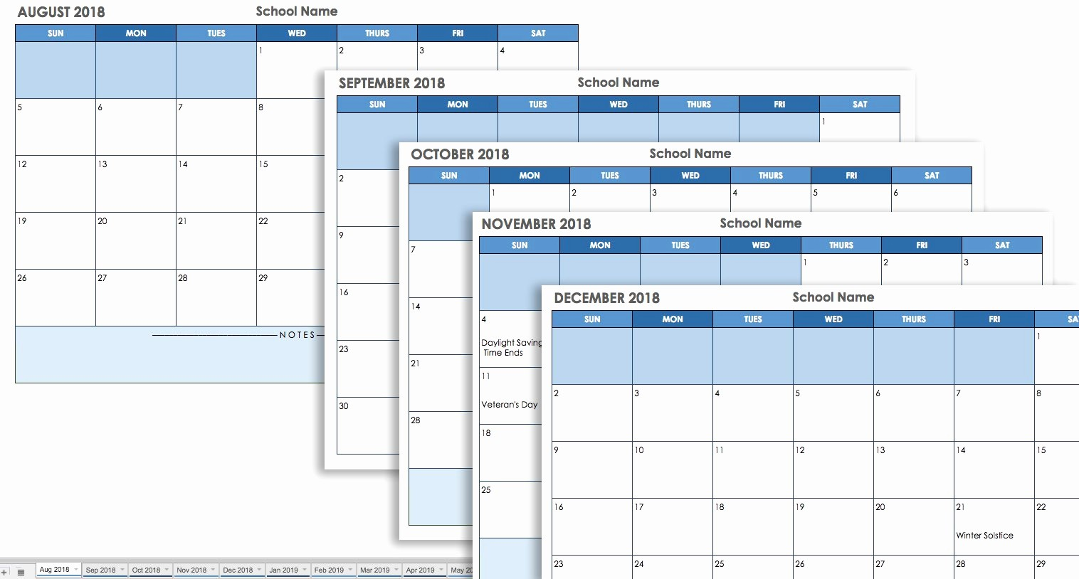 Google Sheets Calendar Template 2019 Fresh 15 Free Monthly Calendar Templates