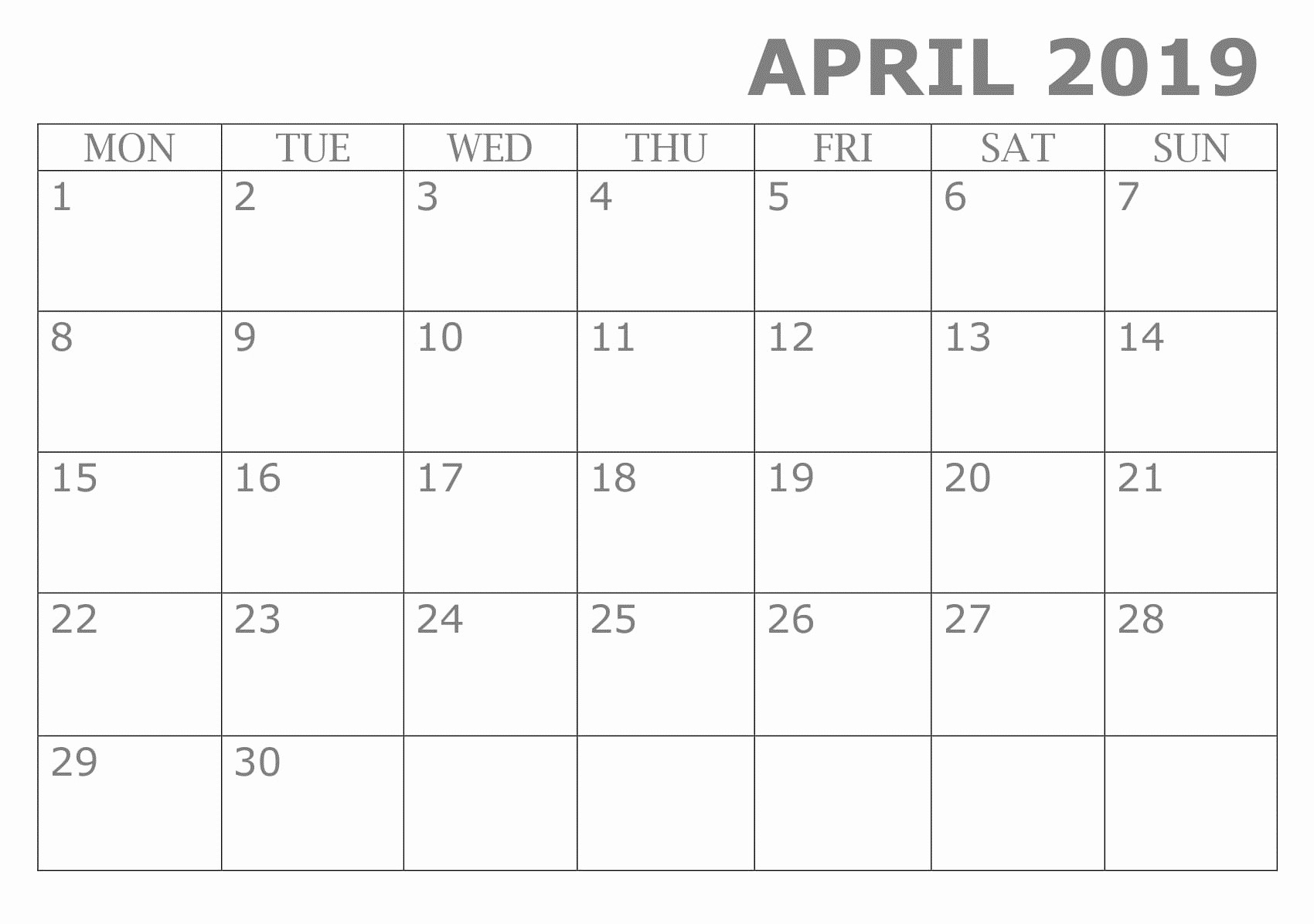 Google Sheets Calendar Template 2019 Inspirational April 2019 Calendar Template Monthly Excel Sheet