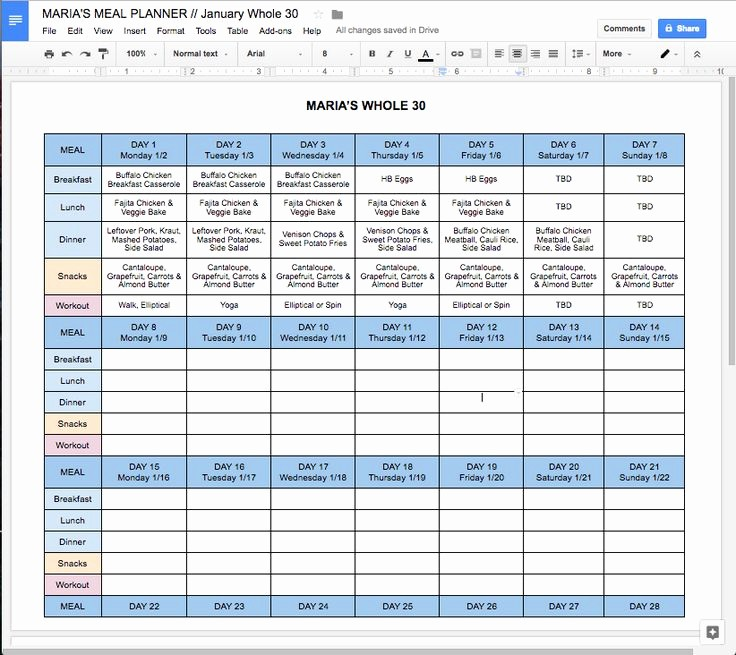 Google Sheets Weight Loss Template Fresh Best 25 whole 30 Meal Plan Ideas On Pinterest