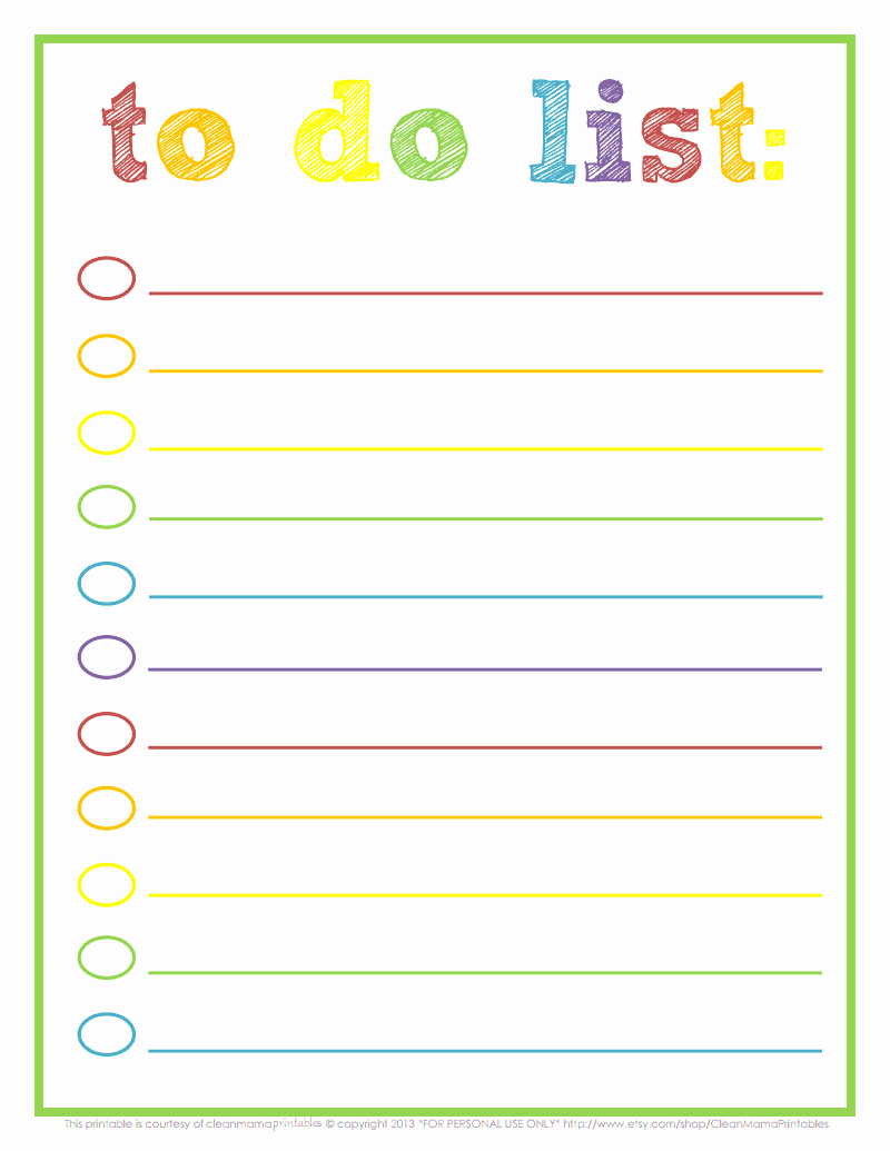 Google to Do List Template Lovely Rainbow to Do List Courtesy Of Clean Mama Printables Pdf