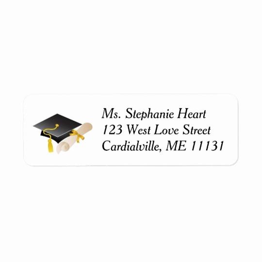 Graduation Address Labels Template Free Elegant Graduation Cap and Diploma Return Address Labels