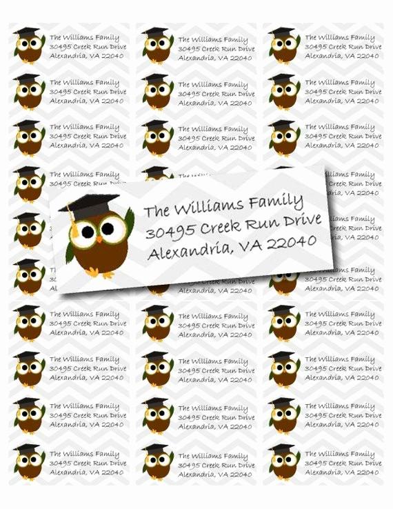 Graduation Address Labels Template Free Fresh Cute Graduation Owl Printable Return Address Labels Pdf