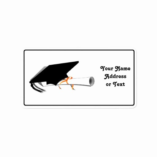 Graduation Address Labels Template Free Lovely Graduation Cap with Diploma Address Label