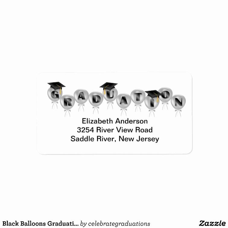 Graduation Address Labels Template Free Unique Black Balloons Graduation Address Labels