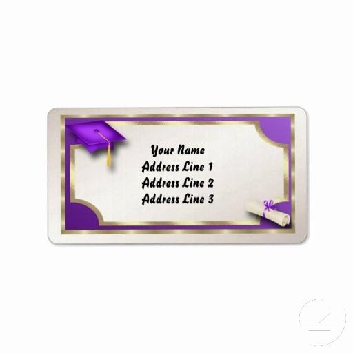 Graduation Address Labels Template Free Unique Purple and Gold Grauation Address Labels