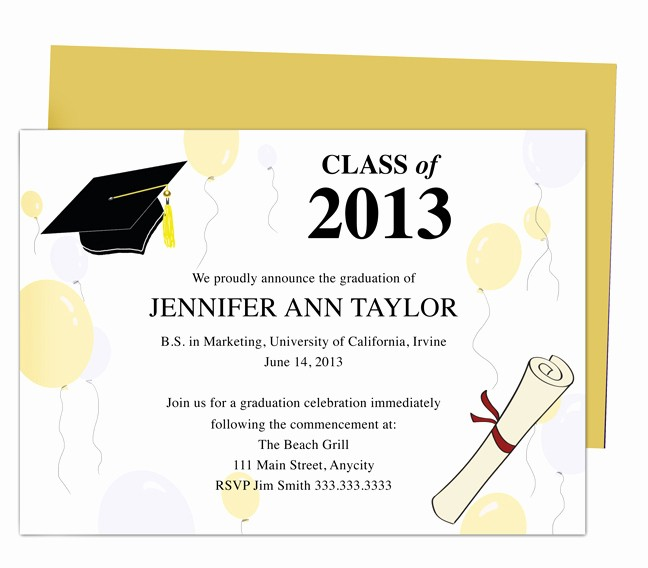 Graduation Party Invitation Template Word Beautiful College Graduation Announcement Template Free Templates