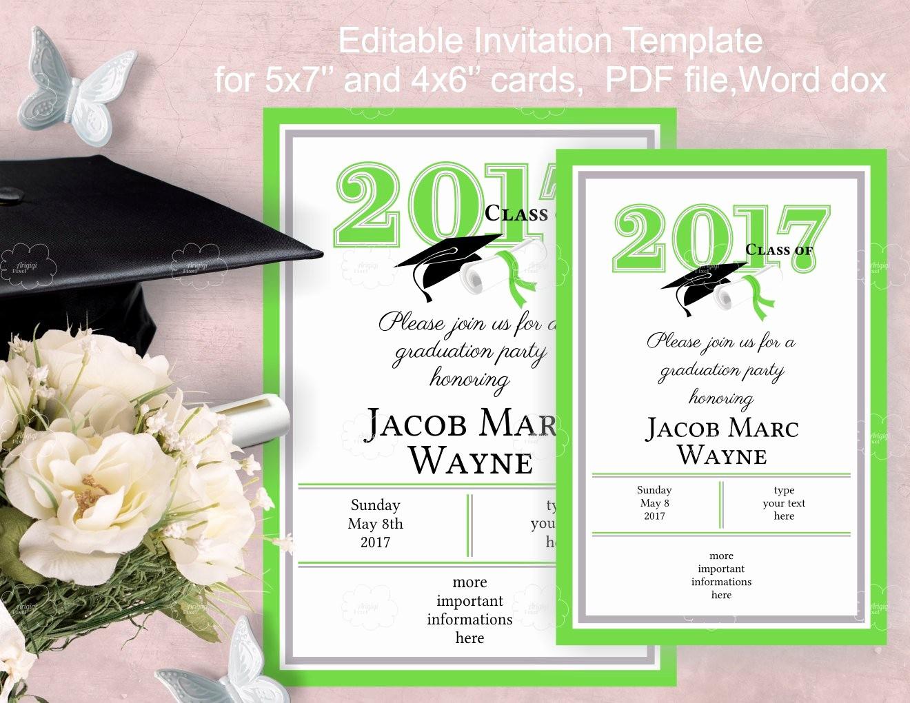 Graduation Party Invitation Template Word Beautiful Graduation Party Invitation Template Edit Yourself