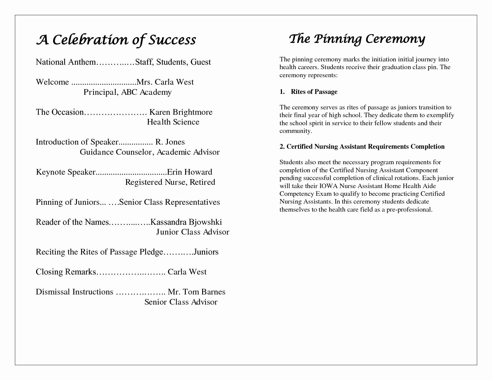 Graduation Program Template Microsoft Word Elegant Award Ceremony Program Template Free Download Freemium