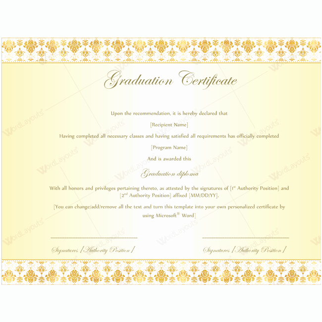 Graduation Program Template Microsoft Word Inspirational Graduation Certificate 08 Word Layouts