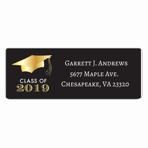 Graduation Return Address Labels Templates Awesome Golden Graduation Return Address Labels