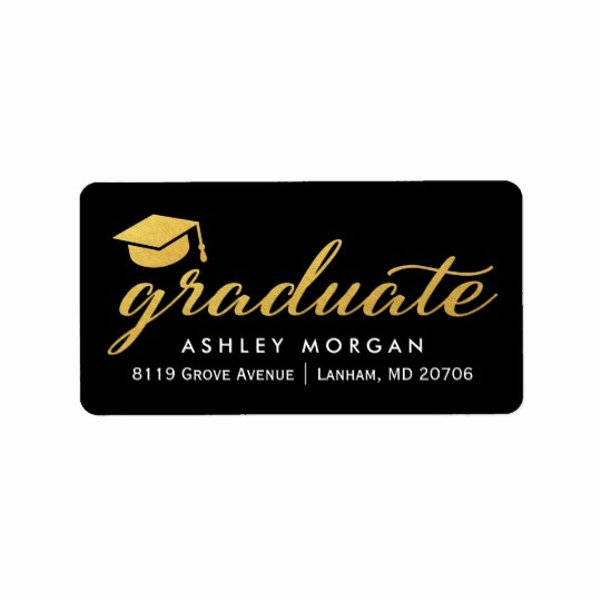 Graduation Return Address Labels Templates Elegant 2017 Graduate Gold Calligraphy Script Graduation Label