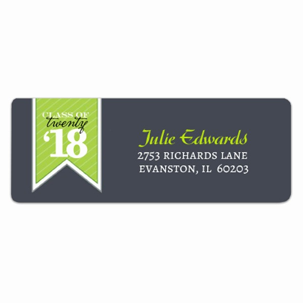 Graduation Return Address Labels Templates Lovely Banner Green Graduation Address Labels