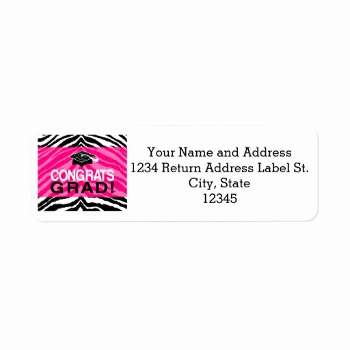 Graduation Return Address Labels Templates Luxury Personalized Pink Black Zebra Graduation Party Label