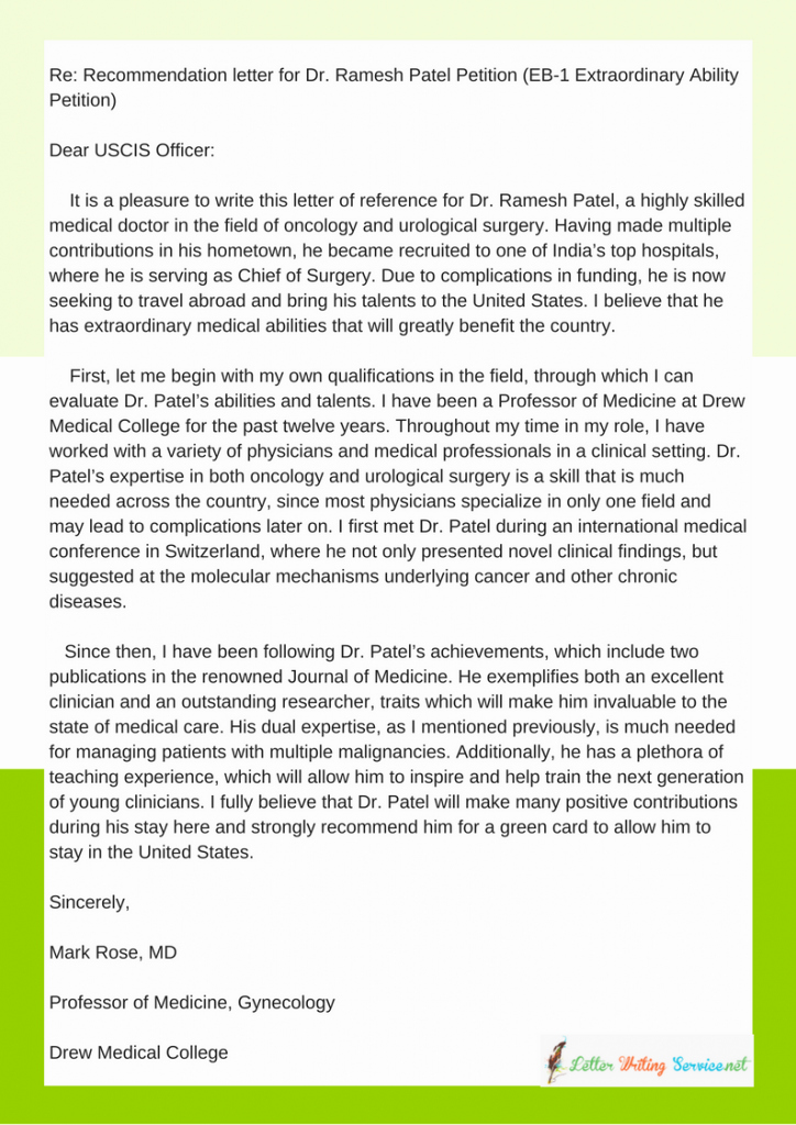 Green Card Reference Letter Example Beautiful Green Card Reference Letter Eb1 Eb2 O1 format Samples