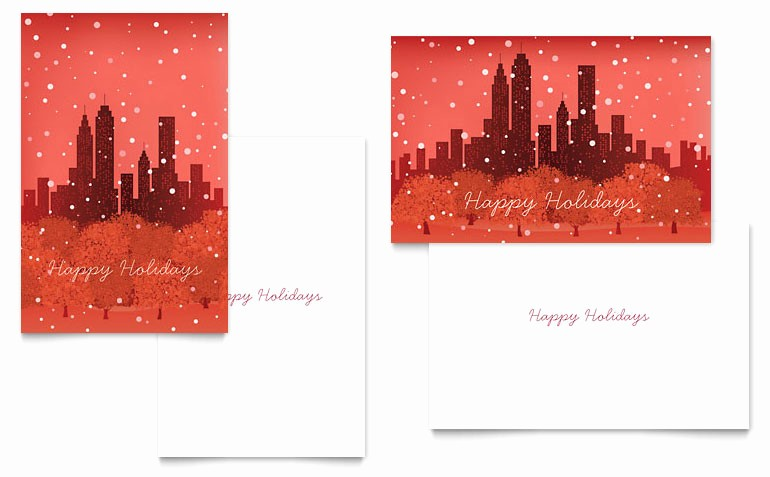 Greeting Cards Templates for Word Beautiful Cityscape Winter Holiday Greeting Card Template Word