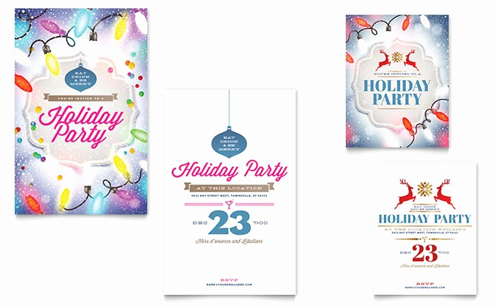 Greeting Cards Templates for Word Beautiful Holiday Party Note Card Template Word & Publisher