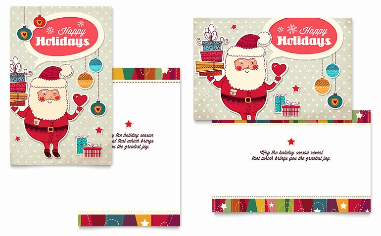 Greeting Cards Templates for Word Elegant Retro Santa Greeting Card Template Word & Publisher