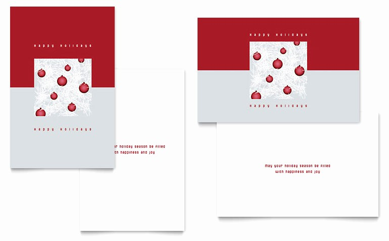 Red Ornaments Greeting Card Templates XX D