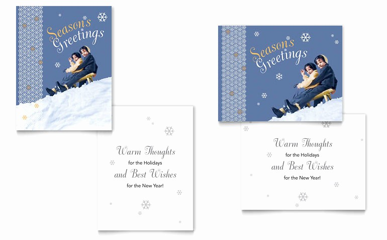 Greeting Cards Templates for Word Inspirational Children Sledding Greeting Card Template Word & Publisher