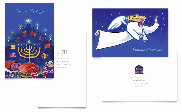Greeting Cards Templates for Word Inspirational Holiday Seasons Menorah Greeting Card Template Word