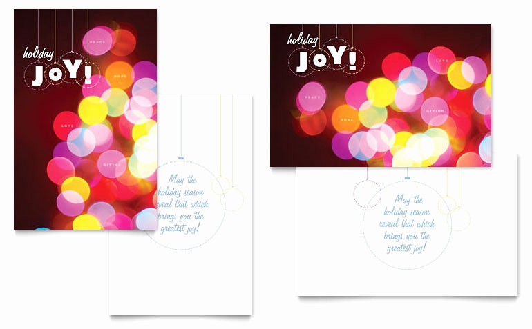 Greetings Card Templates for Word Lovely Holiday Lights Greeting Card Template Word & Publisher