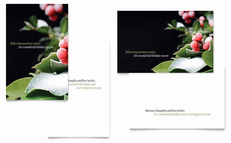 Greetings Card Templates for Word Lovely Holly Leaves Greeting Card Template Word & Publisher