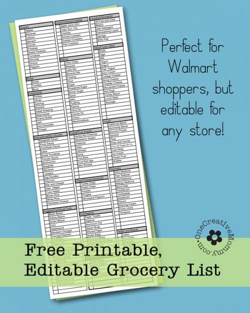 Grocery List by Aisle Template Best Of Freebie Friday Printable Grocery List Onecreativemommy