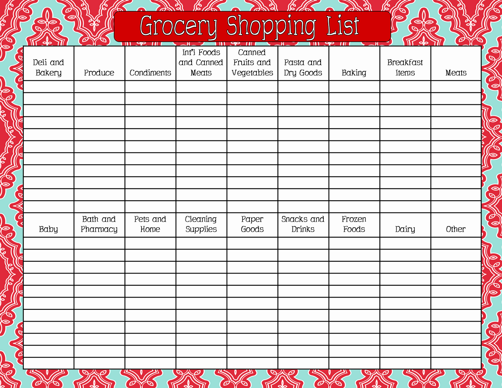 Grocery List by Aisle Template Elegant Grocery Shopping List Printable Nisartmacka