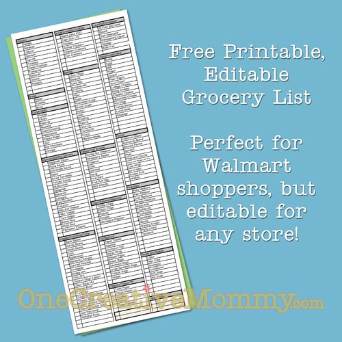 Grocery List by Aisle Template Lovely Freebie Friday Printable Grocery List Onecreativemommy