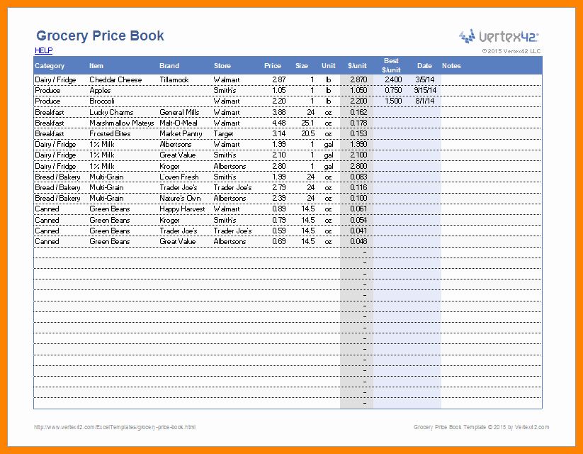 Grocery List with Prices Template Best Of 11 Groceries List with Prices