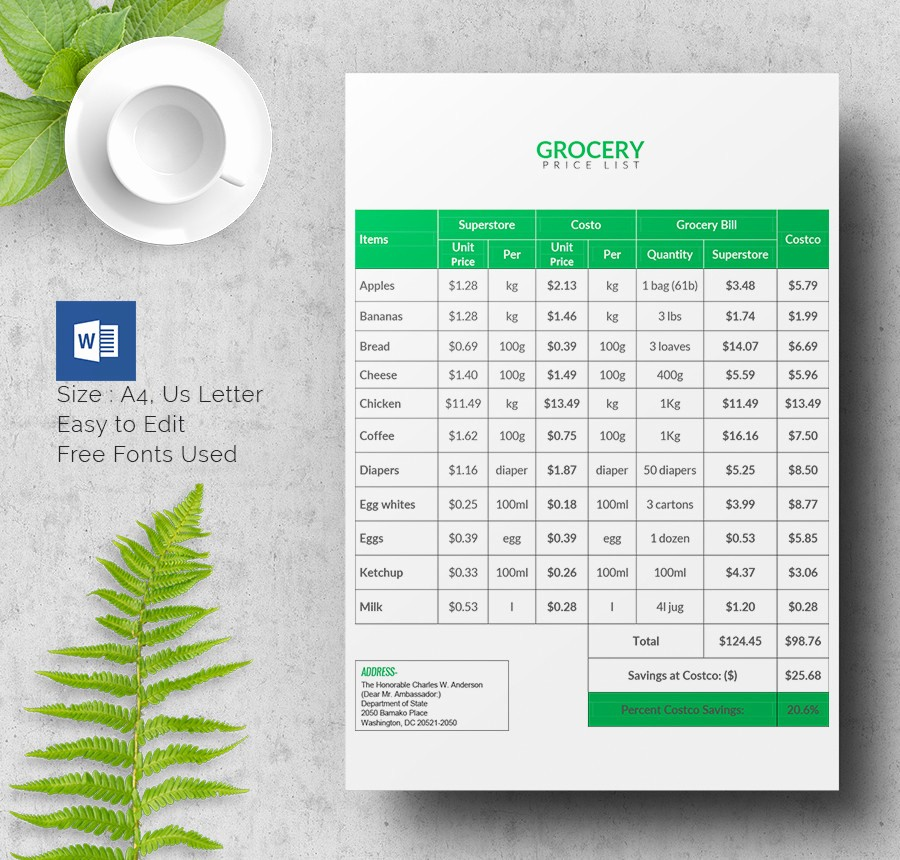 Grocery List with Prices Template Best Of 25 Price List Templates Doc Pdf Excel Psd