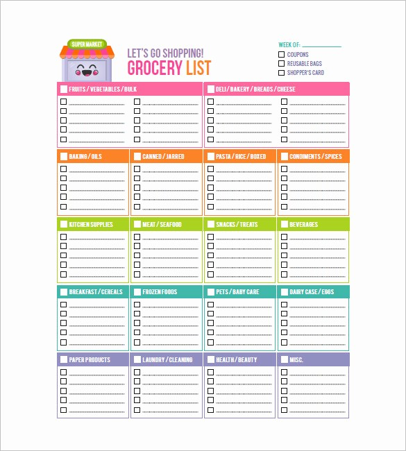 Grocery List with Prices Template Inspirational 10 Blank Grocery List Templates Pdf Doc Xls