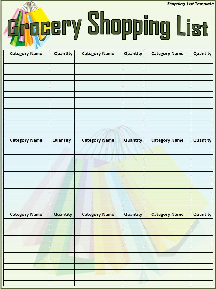 Grocery List with Prices Template Inspirational Free Shopping List Template