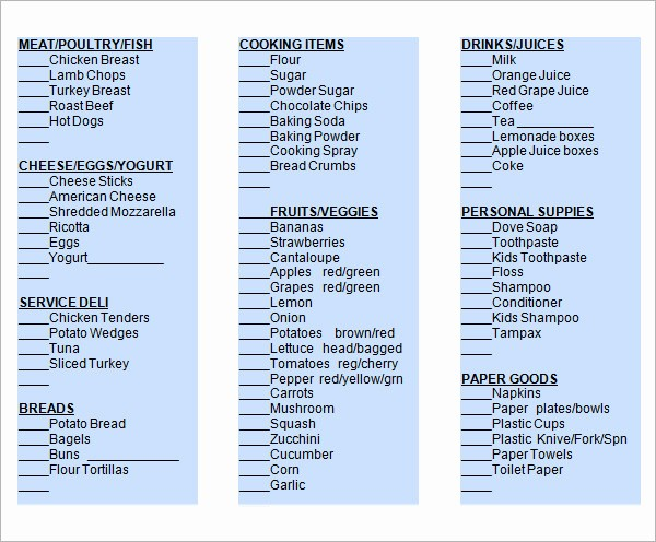Grocery List with Prices Template New Sample Grocery List Template 9 Free Documents In Word
