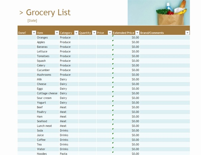 Grocery List with Prices Template Unique Grocery List with Prices Template