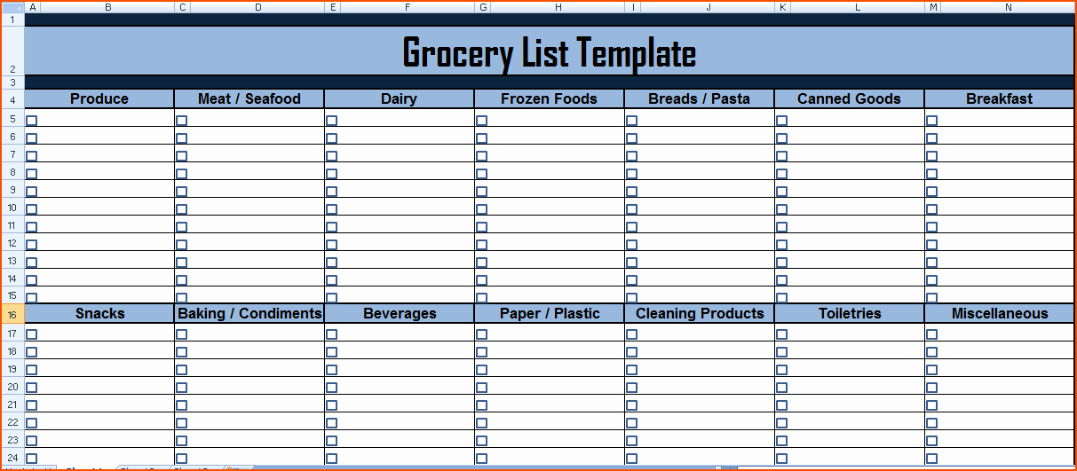Grocery Shopping List Template Excel Awesome 7 Grocery List Excel Bookletemplate