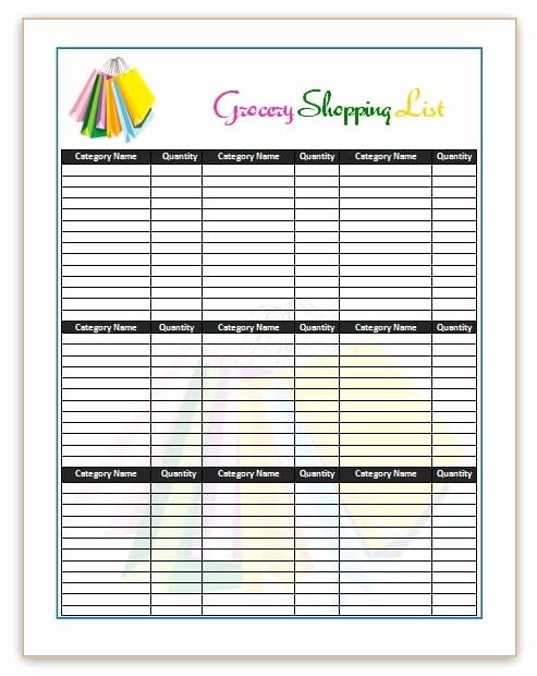 Grocery Shopping List Template Excel Awesome 7 Shopping List Templates