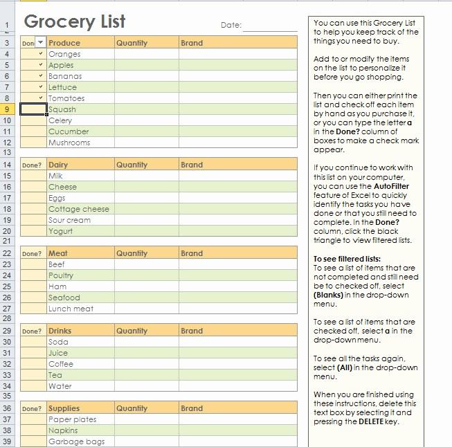 Grocery Shopping List Template Excel Awesome Grocery Shopping List Template for Excel