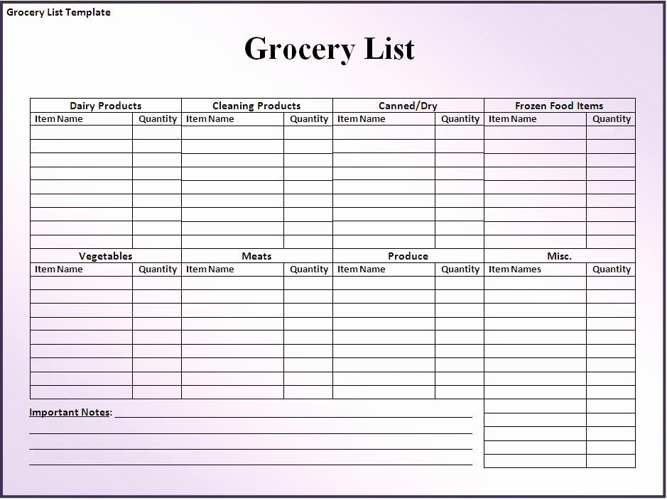 Grocery Shopping List Template Excel Elegant 8 Blank Grocery List