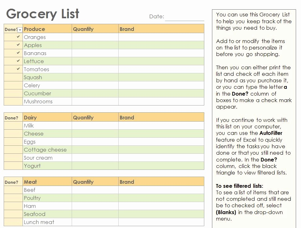 Grocery Shopping List Template Excel Elegant Grocery Checklist