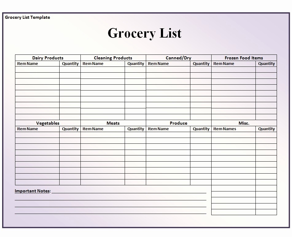 Grocery Shopping List Template Excel Fresh Grocery List Template Free formats Excel Word