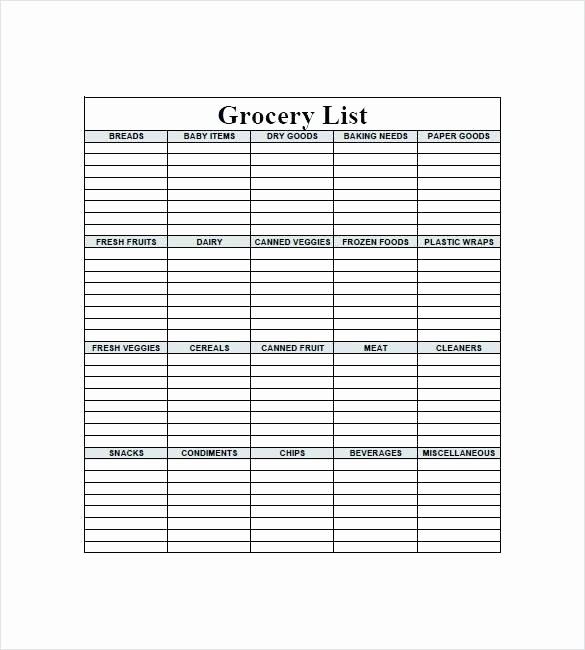 Grocery Shopping List Template Excel Fresh Healthy Grocery List Template In Excel format Food