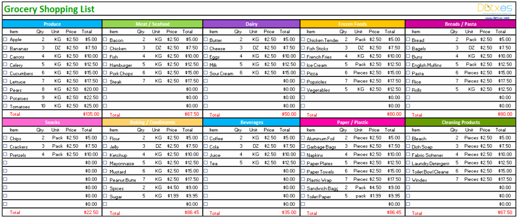 Grocery Shopping List Template Excel Inspirational Grocery List Template Standard Design Dotxes