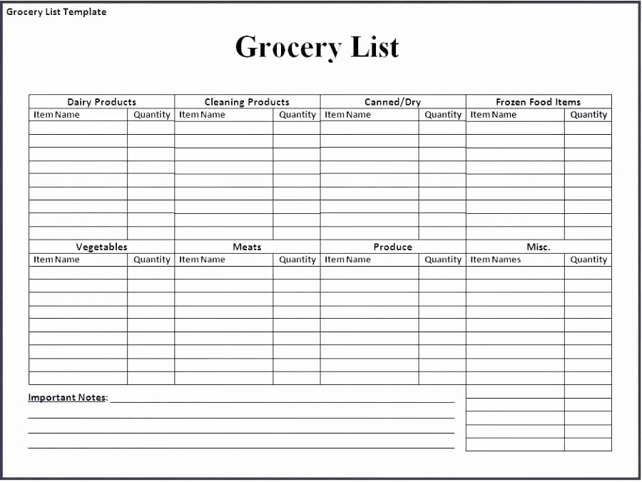 Grocery Shopping List Template Excel Lovely Printable Grocery List Template Pdf Excel Templates