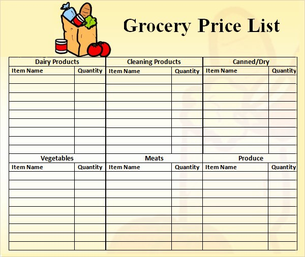 Grocery Shopping List Template Excel Luxury Price List Template 9 Download Free Documents In Pdf