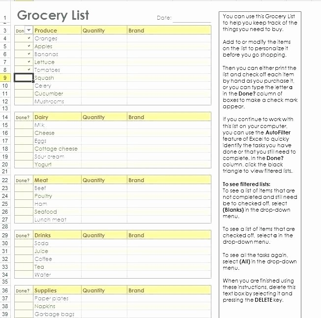 Grocery Shopping List Template Excel New Healthy Grocery List Template In Excel format Food