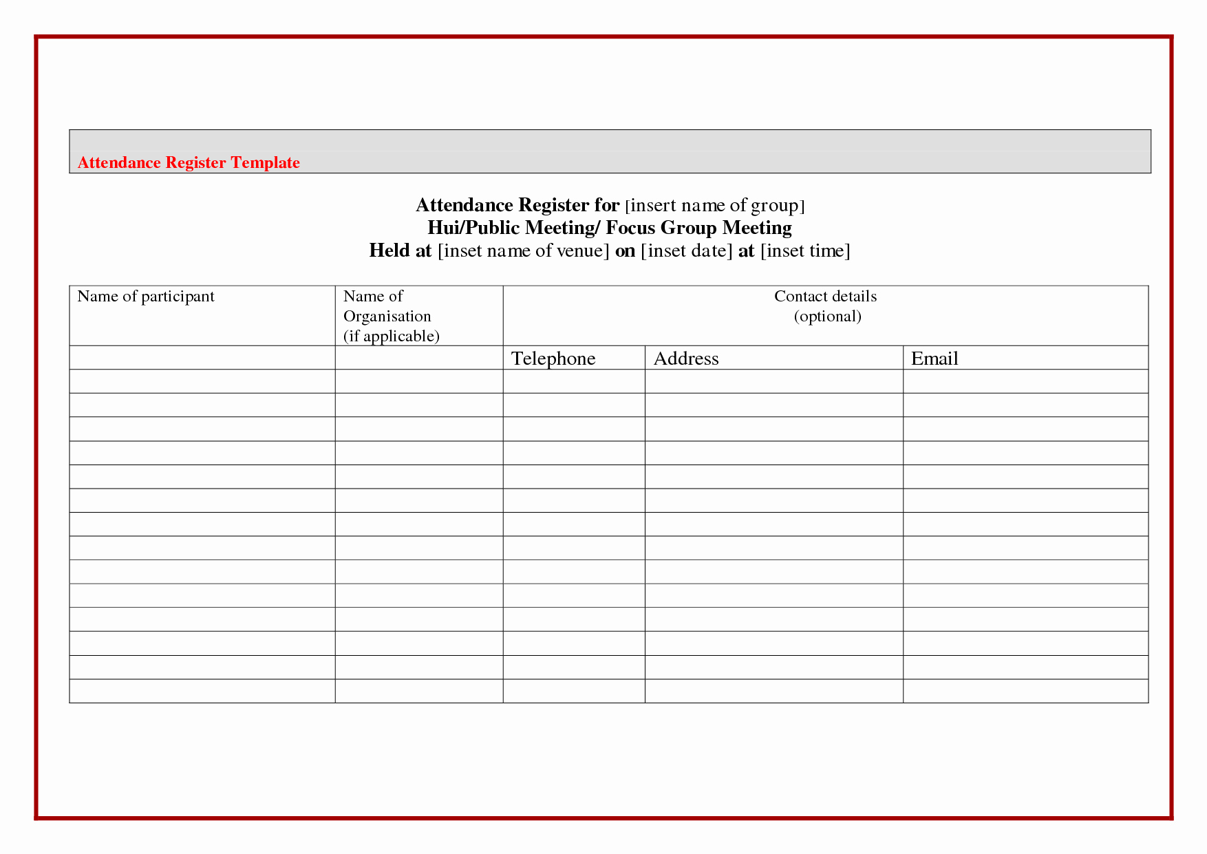 Group Sign In Sheet Template Awesome attendance Sheet Template Word Example Mughals